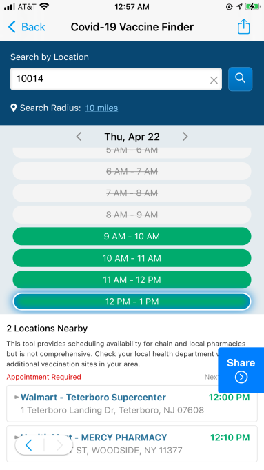 A screenshot of SmartNews' vaccine locater feature for the American version of its app